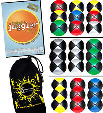 Pro Thud Juggling Balls Set of 3 - Leather juggling Ball set + Tricks DVD + Bag