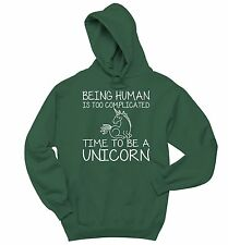 Being Human Complicated Be A Unicorn Funny Sweatshirt Horse Lover Hoodie