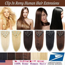 8pcs 160g Deluxe Thick Clip In Remy Human Hair Extensions Full Head Any Color US