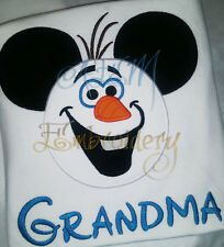 Personalized Olaf Mousehead Machine Embroidered Shirt