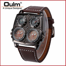 Army Compass Oulm Leather Men Dual Time Military Thermometer Quartz Wrist Watch