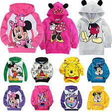 Girls Sweatshirt Mickey Minnie Hoody Kids Boys Pullover Long Sleeve Coat 1-9Y