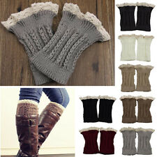 Fashion Womens Crochet Knit Lace Trim Leg Warmers Cuffs Toppers Boot Socks """"