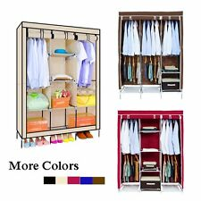 New Large Portable Clothes Closet Canvas Wardrobe Storage Organizer with Shelves