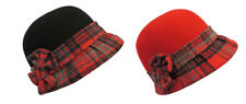 Retro Vintage 1920's 1930's 1940's style Felt Tartan Cloche Flapper Hat with Bow