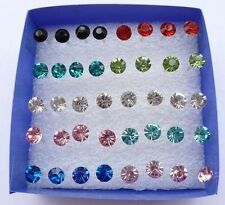 Wholesale Lots 20 Pairs Multicolor Rhinestone Stud Earrings In Jewelry