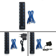 7 Ports USB 3.0 HUB with On/Off Switch Power Adapter Cable For Laptop PC CGYG