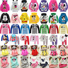 Kids Baby Girls Cartoon Mickey Minnie Hoodies Sweatshirt Coat Tops Outfits Sets