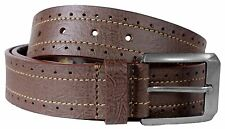 New Mens Perforated Border Stitch Pin Buckle Leather Belts S-3XL