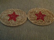 2 Placemat coasters w/ red stars...
