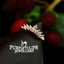 18CT Rose Gold Plated Cute Little Crown Ring W/ Genuine SWAROVSKI Crystals