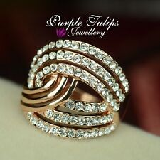 18CT Rose Gold Plated Fashion Stylish Ring Made With SWAROVSKI Crystals