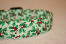 Green Holly Christmas Adjustable Dog & Cat Collars & Martingales & Leashes
