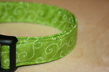 Lime Green Swirls Adjustable Dog Collars & Martingales & Leashes & Cat Collars