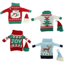Funny Xmas Tree Party Knitted Sweater Coat Hat Wine Bottle Wrap Cover Decoration