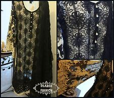 Pakistani Black Fancy Net A-Line Shirt Suit, with Embroidery & Net Inner Shirt