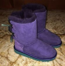 NEW Little Girls Sz 11 UGG AUSTRALIA Bailey Bow Purple Teal Suede Boots Toddler