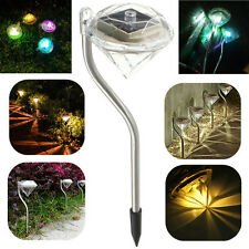 4PCS Outdoor Solar Stainless Steel LED Lawn Diamond Lights Garden Lamp Path