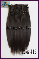 8pcs 140g Remy Hair Clip In 100%Real Human Hair Extensions Off Black Full Head