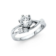 14k Solid White Gold Diamond Engagement Ring 1.50 Ct Round Cut