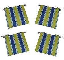 Set of 4 - Indoor / Outdoor Blue Green Stripe Foam Chair Cushions - Choose Size