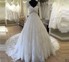 Applique Lace Long Sleeve Maternity Wedding Dress V-neck Bridal Gown custom size