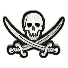 Embroidered White Pirate Sword Skull Iron on Sew on Biker Patch Badge