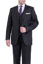 Zanetti Classic Fit Charcoal Gray Pinstriped Two Button Three Piece Wool Suit
