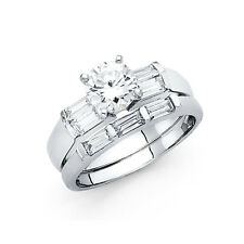 14k Solid White Gold 1.75 CT Diamond Round Cut Engagement Ring Set Baguette