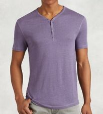 John Varvatos Star USA Men's Short Sleeve 4 Snap Henley Linen Iris $78 msrp NWT