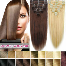 95g 8PCS Remy Hairpiece Straight Clip In Real Human Hair Extensions Any Color