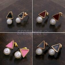 Fashion Women Ladies Simple Triangle White Pearl Ear Studs Earrings Jewelry Gift