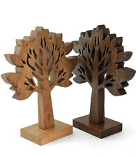 """Wooden Tree Ornament Sculpture Hand carved Acacia 13"""" . Choice of 2 colours"""