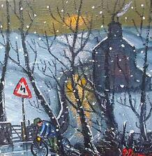 James Downie Original Oil Painting - Riding Through The Snow (Cornish Art)