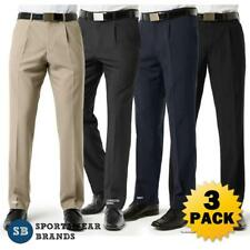 3 x Mens Single Pleat Pants Classic Trouser Work Business Corporate New BS29110