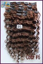 #6 Brown Full Head Curly Wavy Clip In Real Human Hair Extensions Deep Remy Hair