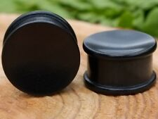 Wood plugs double flare, pair black ebony wood gauges concave natural, tribal
