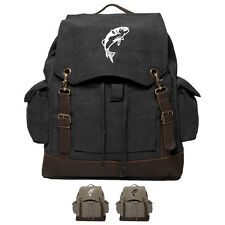 Jumping Bass Fish Rucksack Backpack with Leather Straps