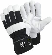 TEGERA 377 Black / White Warm Winter lined Leather Palm Outdoors Work Gloves