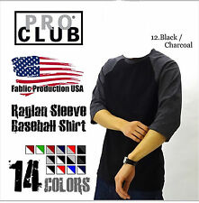Pro Club Raglan 3/4 Sleeve Baseball Plain T- shirts Team Sports Jersey fashion