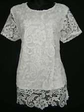 STUNNING CREAM LACE LACY TOP, FULLY LINED SIZE 12 14 16 18 20 22 24 26