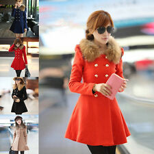 Women Slim Coat Jacket Double Breasted Winter Trench Wool Fur Collar Outerwear