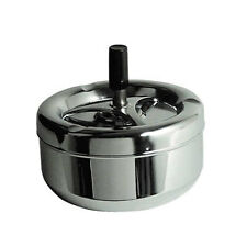 Spinning Ashtray, Chrome Effect, Black Handle Detail