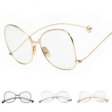 Fashion Women Vintage Clear Lens Glasses Metal Frame Nerd Geek Oversized Eyewear