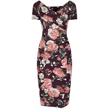 BURGUNDY FLORAL BODYCON WIGGLE PENCIL VINTAGE PROM PARTY COCKTAIL DRESS 8-18