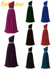 Stock One-Shoulder Wedding Evening Party Ball Gown Prom Bridesmaid Dresses 6-18+