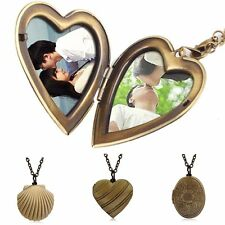 Xmas Vintage Bronze Heart Shell DIY Custom Photo Picture Locket Necklace Pendant