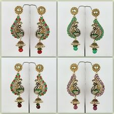 Indian Rajasthani Gold Plated Peacock Ethnic Polki Long New Earring Women