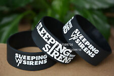 "SLEEPING WITH SIRENS Silicone 1"" Wide Debossed Wristband Bracelet"