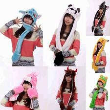 Plush Cartoon Animal Winter Hooded Hat Beanie with Long Scarf Mittens Gloves